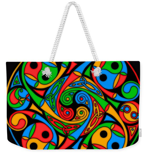 Celtic Stained Glass Spiral Weekender Tote Bag