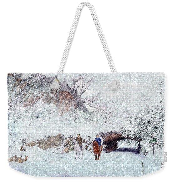 Central Park Snow Weekender Tote Bag