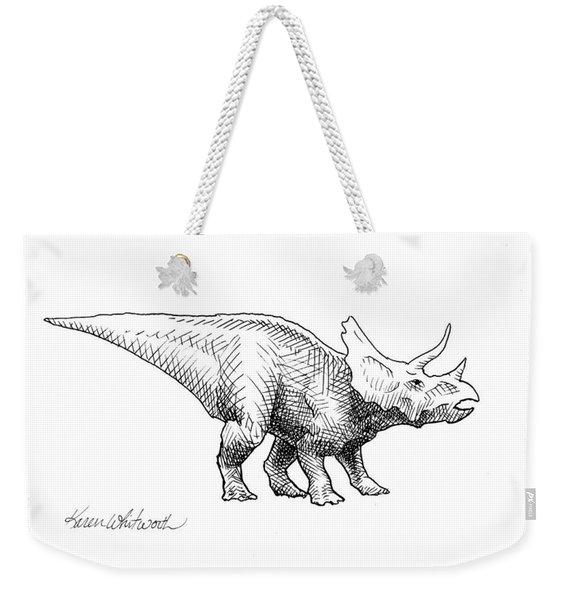 Cera The Triceratops - Dinosaur Ink Drawing Weekender Tote Bag