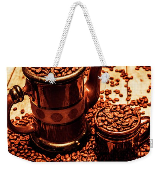 Ceramic Coffee Pot And Mug Overflowing With Beans Weekender Tote Bag