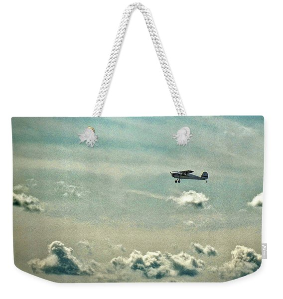 Cessna 140 Departing Delaware Coastal Airport At Georgetown Weekender Tote Bag