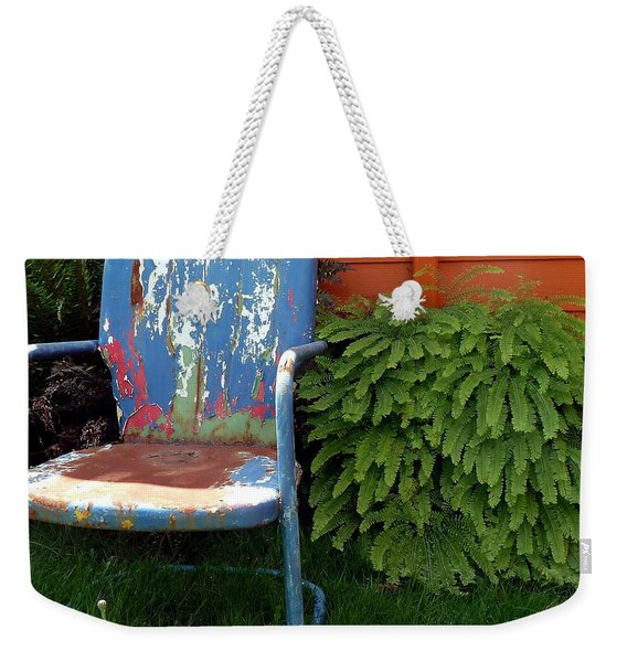 Weekender Tote Bag featuring the photograph Chair Of Many Colors by Patricia Strand