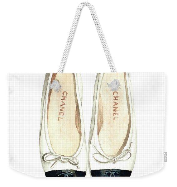 Chanel Ballet Flats Classic Watercolor Fashion Illustration Coco Quotes Vintage Paris Black White Weekender Tote Bag