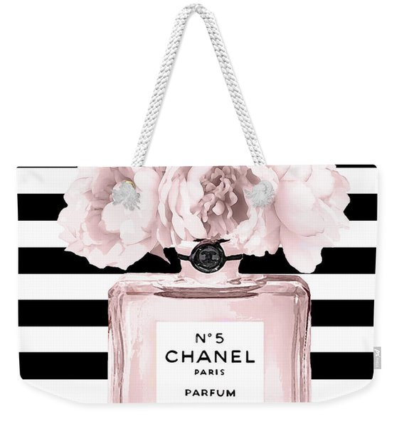 Chanel N.5, Black And White Stripes Weekender Tote Bag