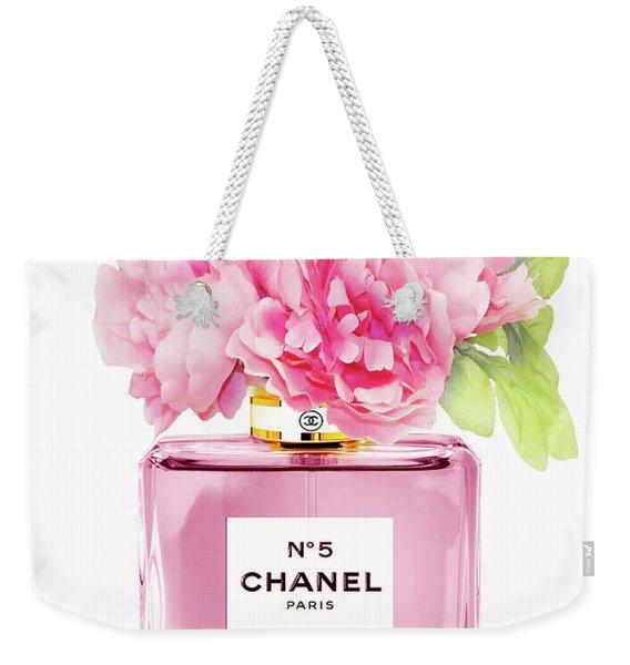 Chanel N5 Pink With Flowers Weekender Tote Bag
