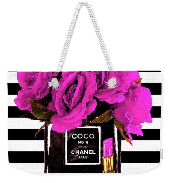 Chanel Noir Perfume With Flowers Weekender Tote Bag