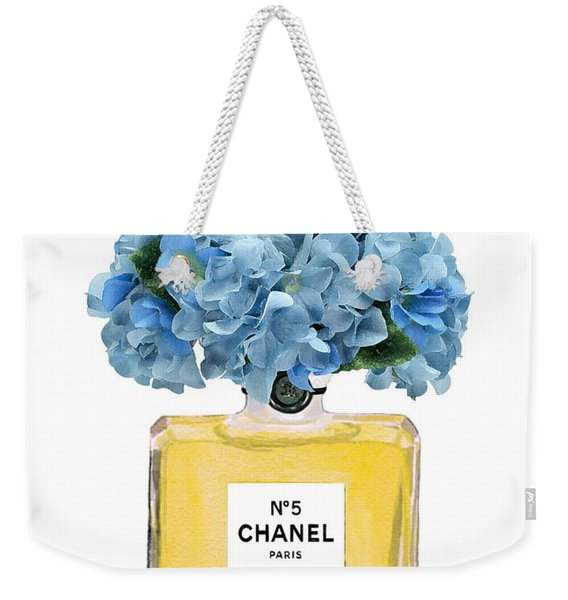 Chanel Perfume Nr 5 With Blue Hydragenias  Weekender Tote Bag