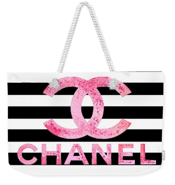 Chanel Pink Logo On Stripes Weekender Tote Bag