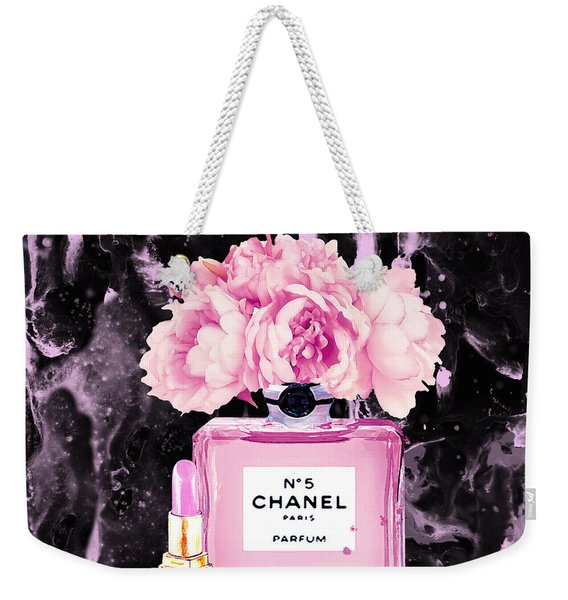 Chanel Print Chanel Poster Chanel Peony Flower Black Watercolor Weekender Tote Bag