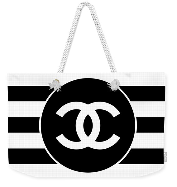 Chanel - Stripe Pattern - Black And White 2 - Fashion And Lifestyle Weekender Tote Bag