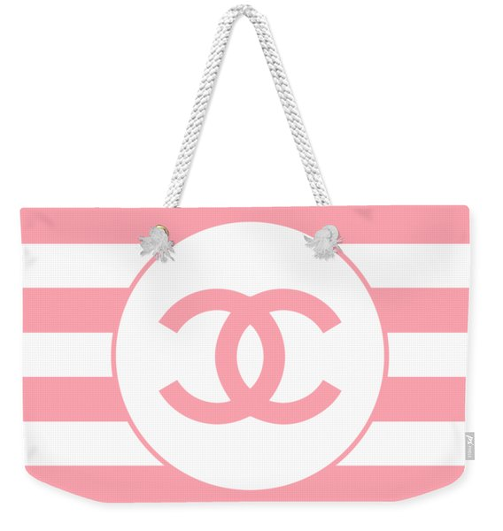 Chanel - Stripe Pattern - Pink - Fashion And Lifestyle Weekender Tote Bag