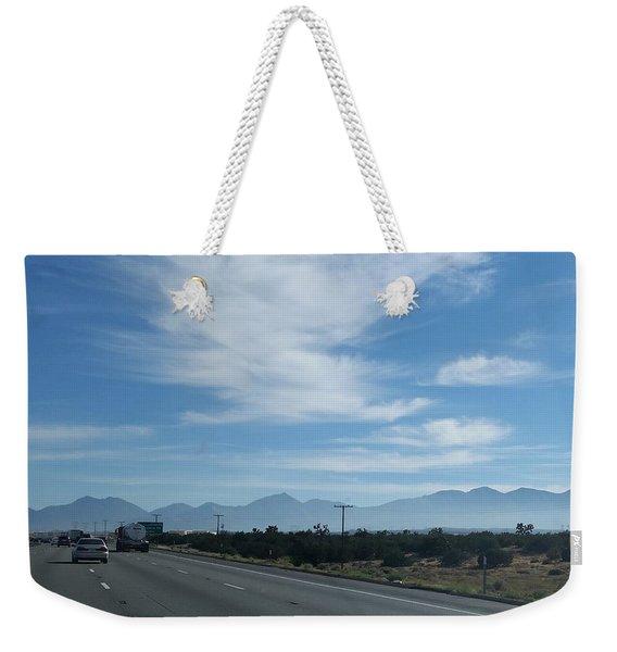 Changing Lanes On A Desert Highway Weekender Tote Bag