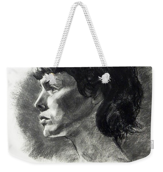 Charcoal Portrait Of A Pensive Young Woman In Profile Weekender Tote Bag