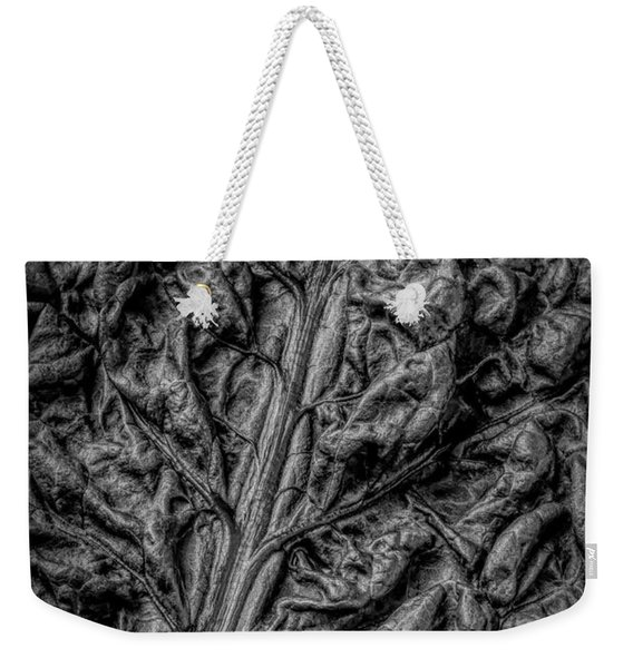 Chard Leaf In Black And White Weekender Tote Bag