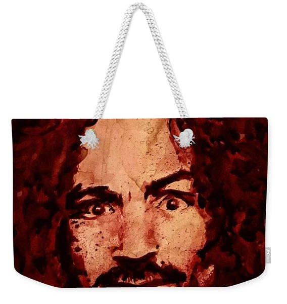 Charles Manson Portrait Fresh Blood Weekender Tote Bag