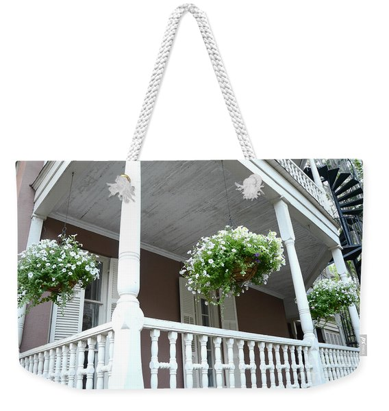 Charleston Historical District Front Porch Flowers - Charleston Homes Architecture Weekender Tote Bag