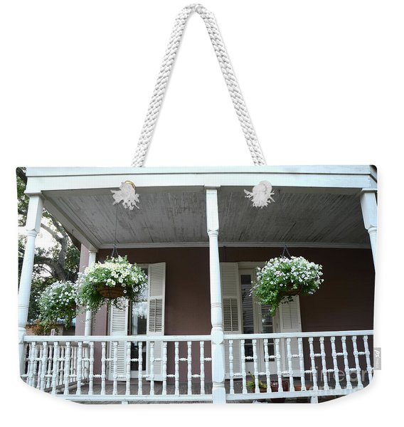 Charleston Historical Homes - Front Porches Hanging Summer Baskets Of Flowers Weekender Tote Bag