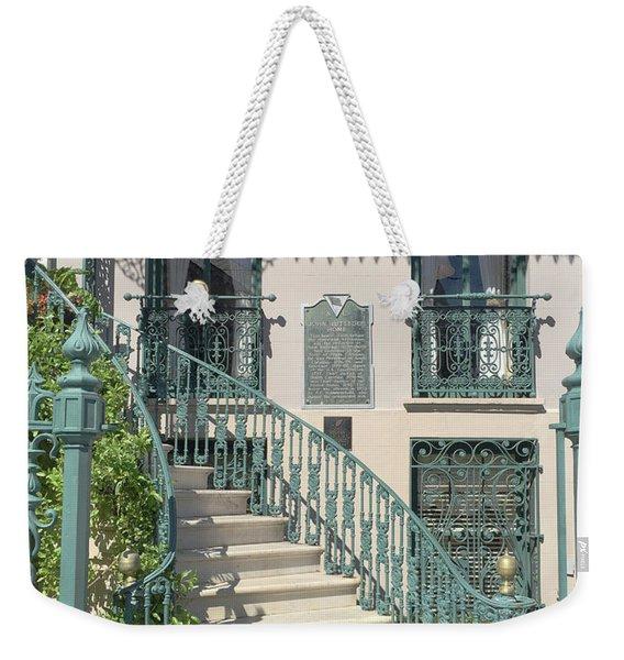 Charleston Historical John Rutledge House - Aqua Teal Gate Staircase Architecture - Charleston Homes Weekender Tote Bag