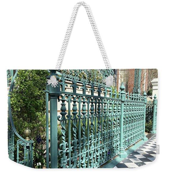 Charleston Historical John Rutledge House Fleur Des Lis Aqua Teal Gate Fence Architecture  Weekender Tote Bag
