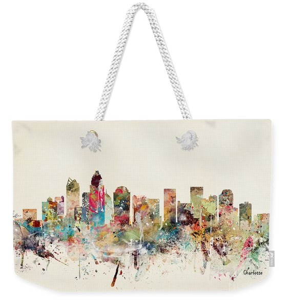 Charlotte City Skyline Weekender Tote Bag