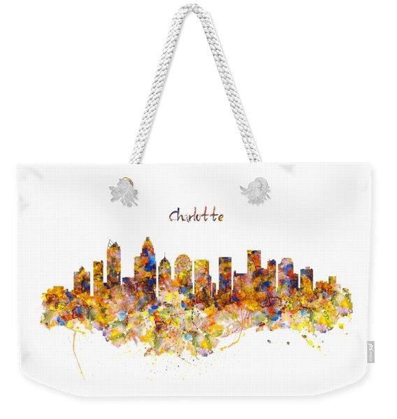 Charlotte Watercolor Skyline Weekender Tote Bag