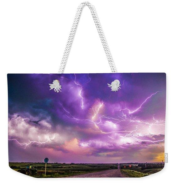 Weekender Tote Bag featuring the photograph Chasing Nebraska Lightning 056 by NebraskaSC