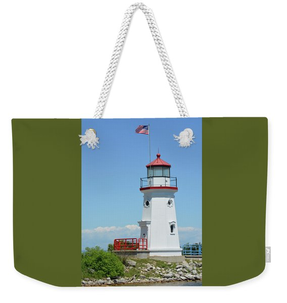 Weekender Tote Bag featuring the photograph Cheboygan Crib Lighthouse by Sally Sperry