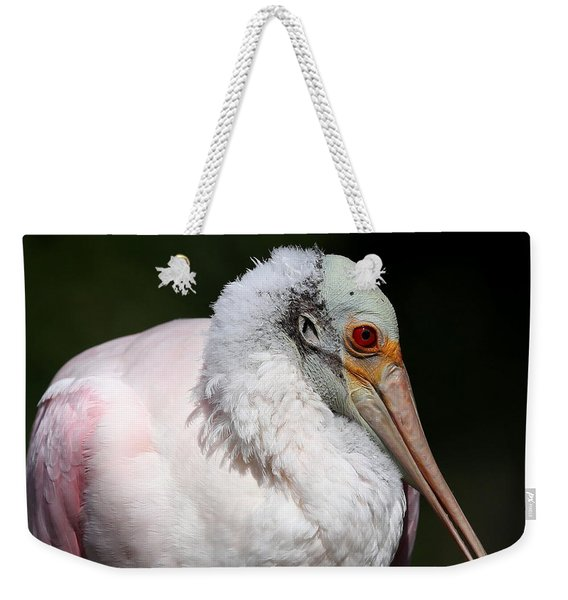 Cheese Puff Face - Roseate Spoonbill Weekender Tote Bag