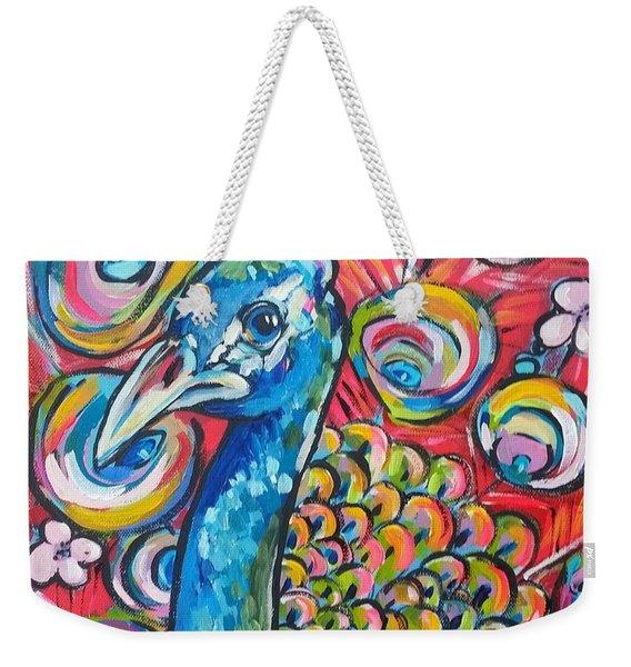 Cherry Blossom Peacock Weekender Tote Bag
