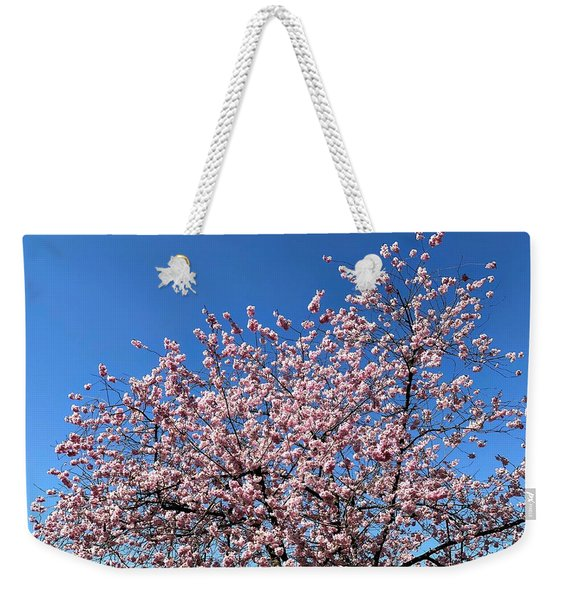 Cherry Blossom Pink And Blue Spring Colors Weekender Tote Bag