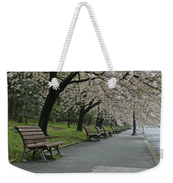 Cherry Blossoms And Benches Weekender Tote Bag