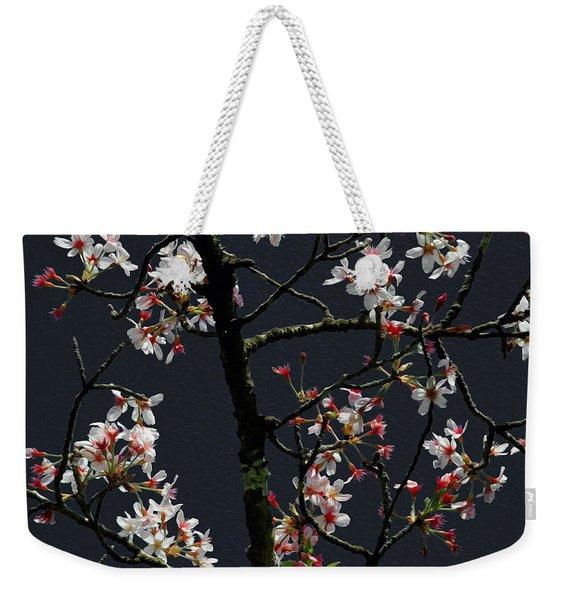 Cherry Blossoms On Dark Bkgrd Weekender Tote Bag