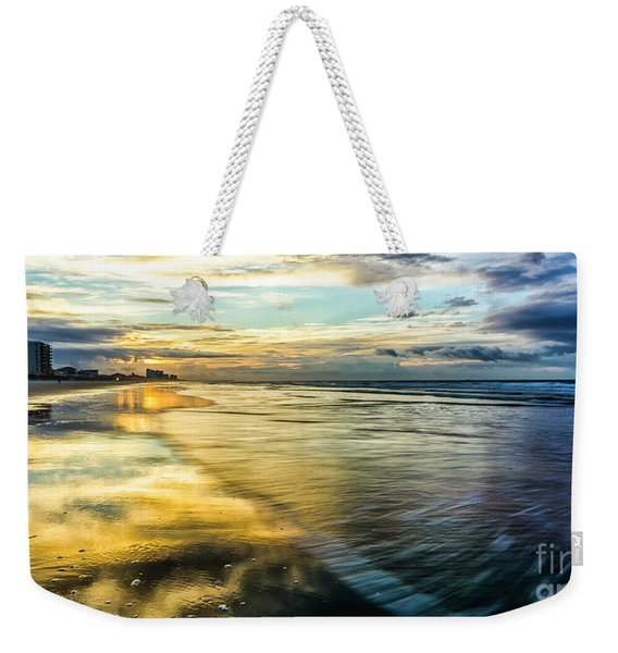 Cherry Grove Golden Shimmer Weekender Tote Bag