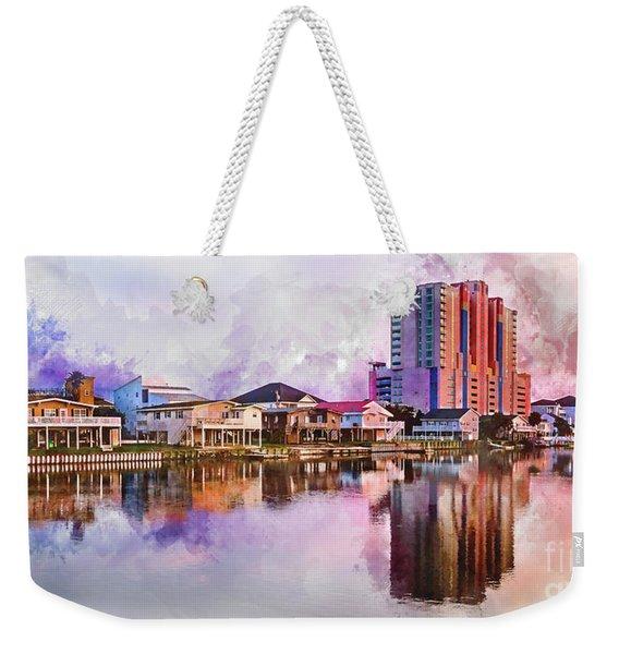 Cherry Grove Skyline - Digital Watercolor Weekender Tote Bag