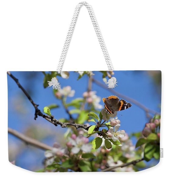 Monarch Butterfly On Cherry Tree Weekender Tote Bag