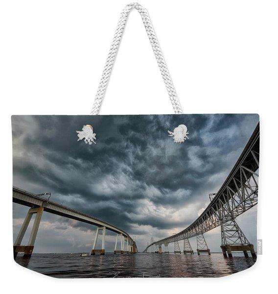 Chesapeake Bay Bridge Storm Weekender Tote Bag