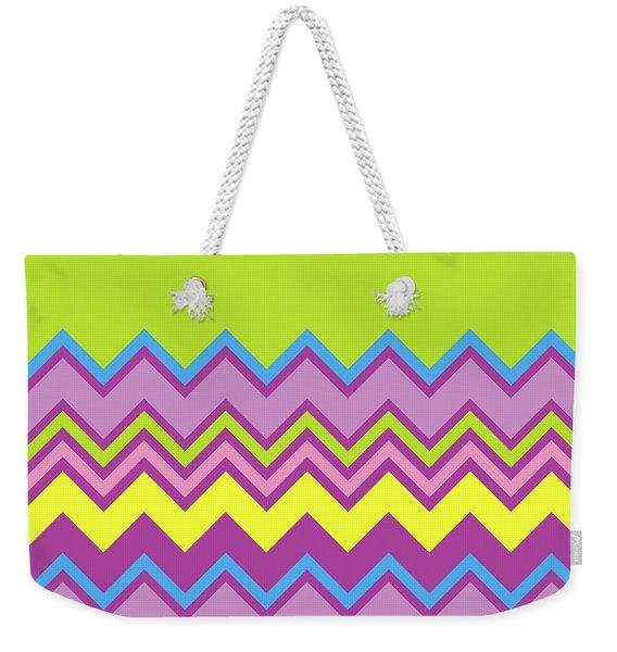Chevron Bright Green Yellow Blue Purple Zigzag Pattern Weekender Tote Bag