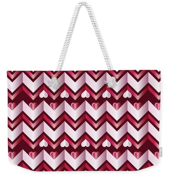 Chevron Hearts Metallic Ruby Red Pink Zigzag Weekender Tote Bag