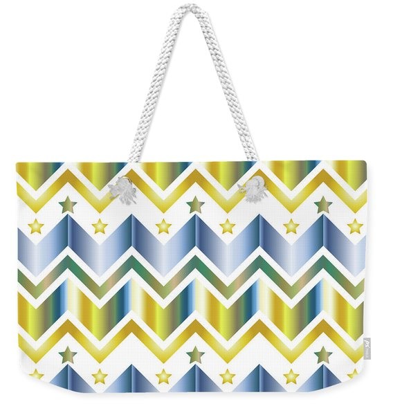 Chevron Metallic Gold Blue Green Gradation Stars Pattern Weekender Tote Bag