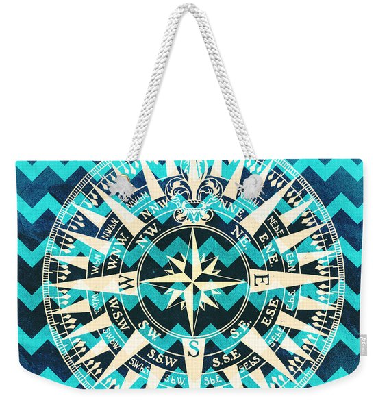 Chevron Print Compass Blue Weekender Tote Bag