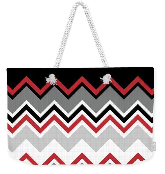 Chevron Red Grey Black White Zigzag Pattern Weekender Tote Bag