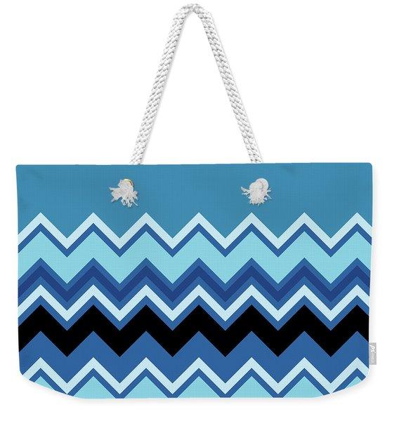 Chevron Summer Cobalt Sapphire Blue Black Zigzag Pattern Weekender Tote Bag