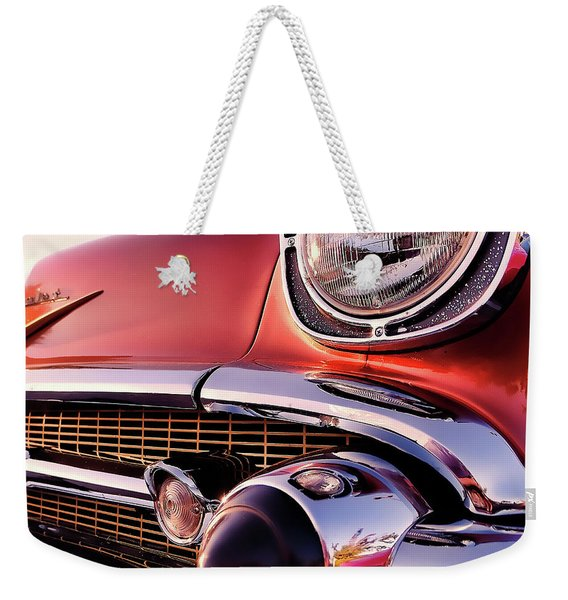 Chevy Bel Air Grille And Bumper Detail Weekender Tote Bag