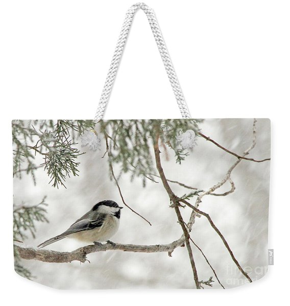 Chicadee In A Snow Storm  Weekender Tote Bag