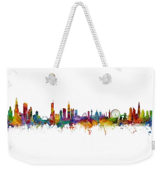 Chicago And London Skylines Mashup Weekender Tote Bag