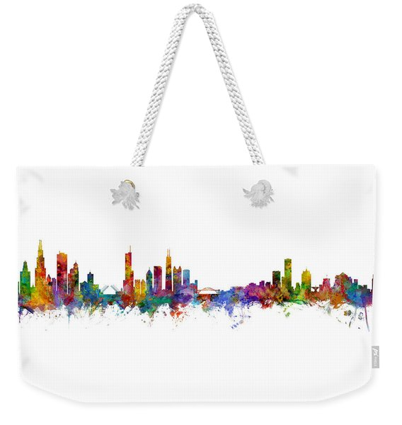 Chicago And Milwaukee Skyline Mashup Weekender Tote Bag