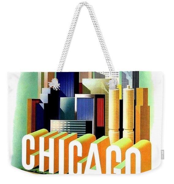 Chicago, Big City, Skyscrapers, Travel Poster Weekender Tote Bag