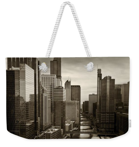 Chicago City View Afternoon B And W 16x20 Weekender Tote Bag