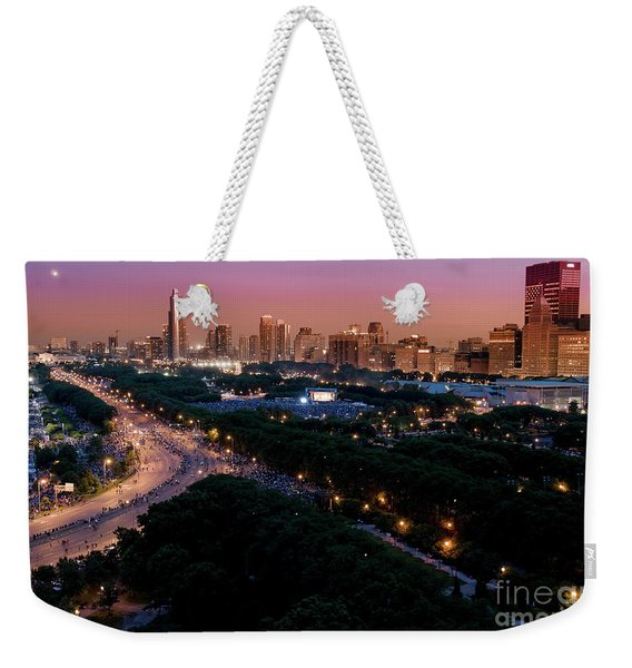Chicago Independence Day At Night Weekender Tote Bag