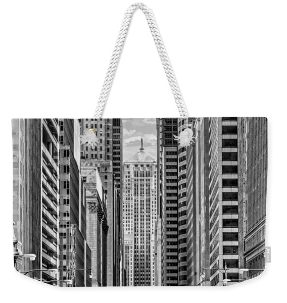 Chicago Lasalle Street Black And White Weekender Tote Bag